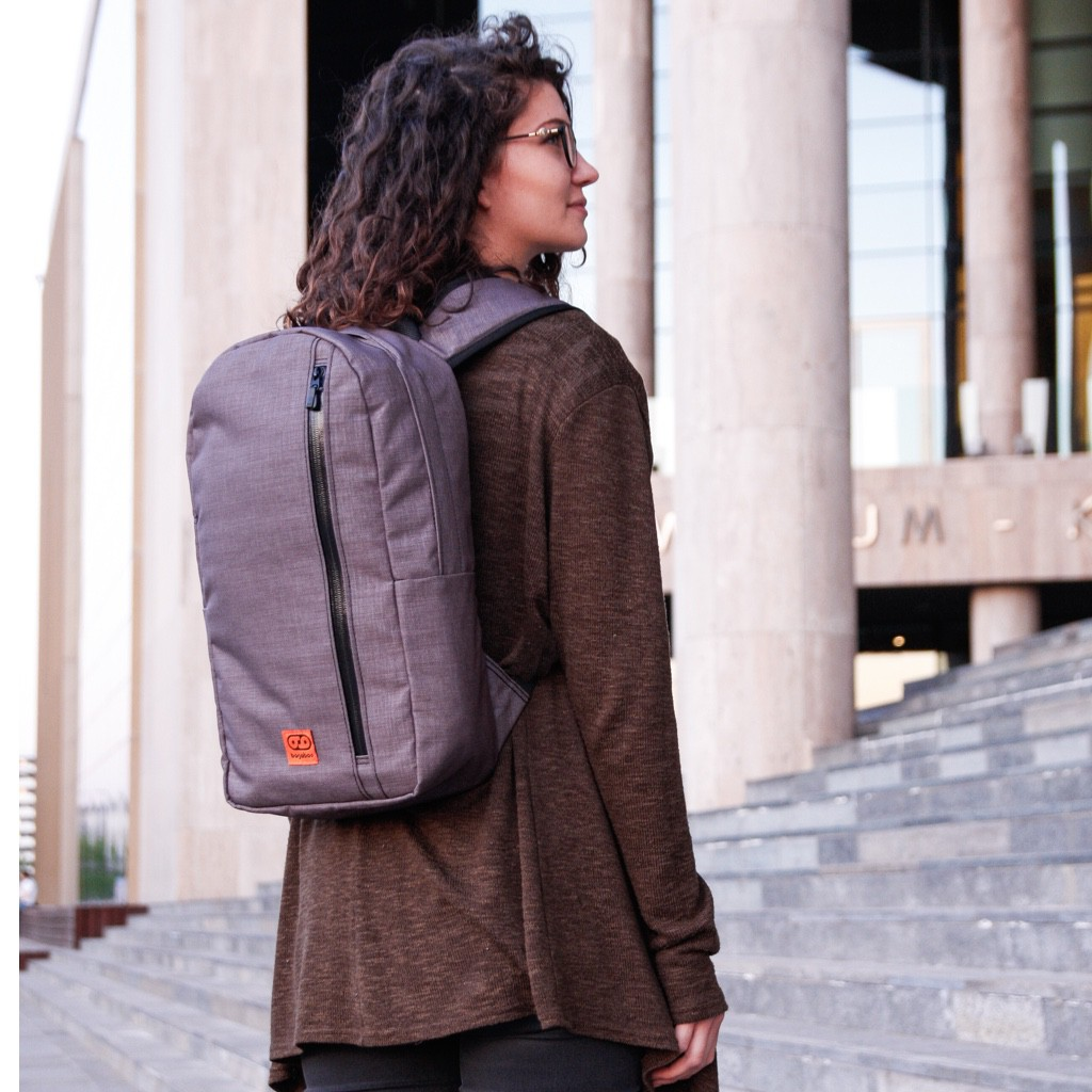 bagaboo urban maze backpack bag on female model