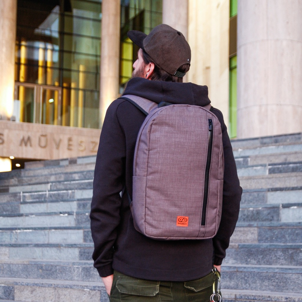 bagaboo urban maze backpack bag on male model